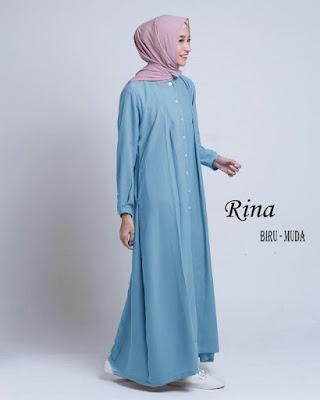 gamis bahan waffle Rina