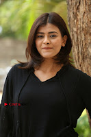 Actress Hebah Patel Stills in Black Mini Dress at Angel Movie Teaser Launch  0057.JPG