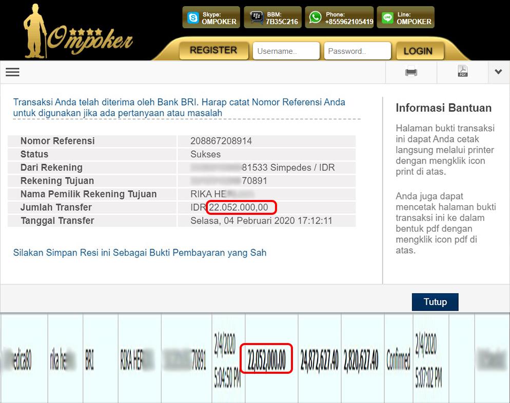 Selamat Kepada Member Setia Ompoker WD Rp 22.052.000