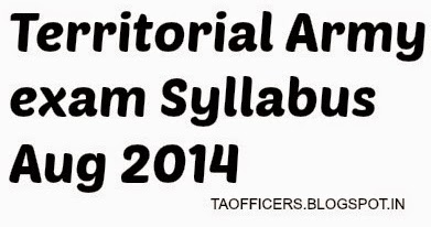 Indian Territorial Army: Territorial Army exam Syllabus