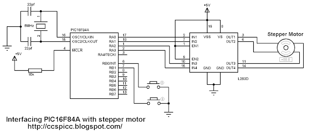 Interfacing PIC16F84A with stepper motor circuit CCS PIC C