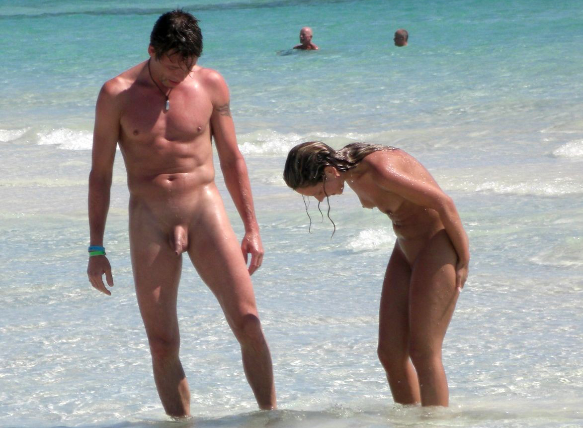 Mature nude couple at the beach