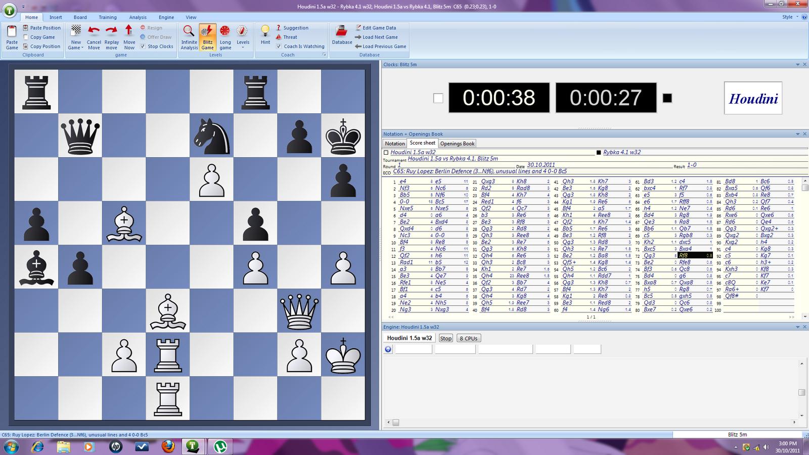 MY CHESS DIARY: Engine Match: Houdini 1 5a vs Rybka 4 1