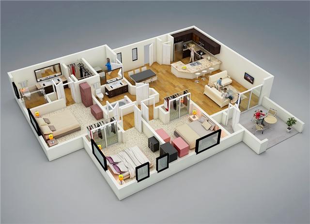 75 Denah Rumah Minimalis 3 Kamar Tidur 3d Yang Modern Dan Terbaru