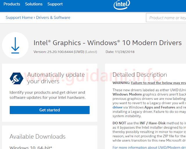 Sezione Download Center sito Intel pagina download driver moderno per Windows 10