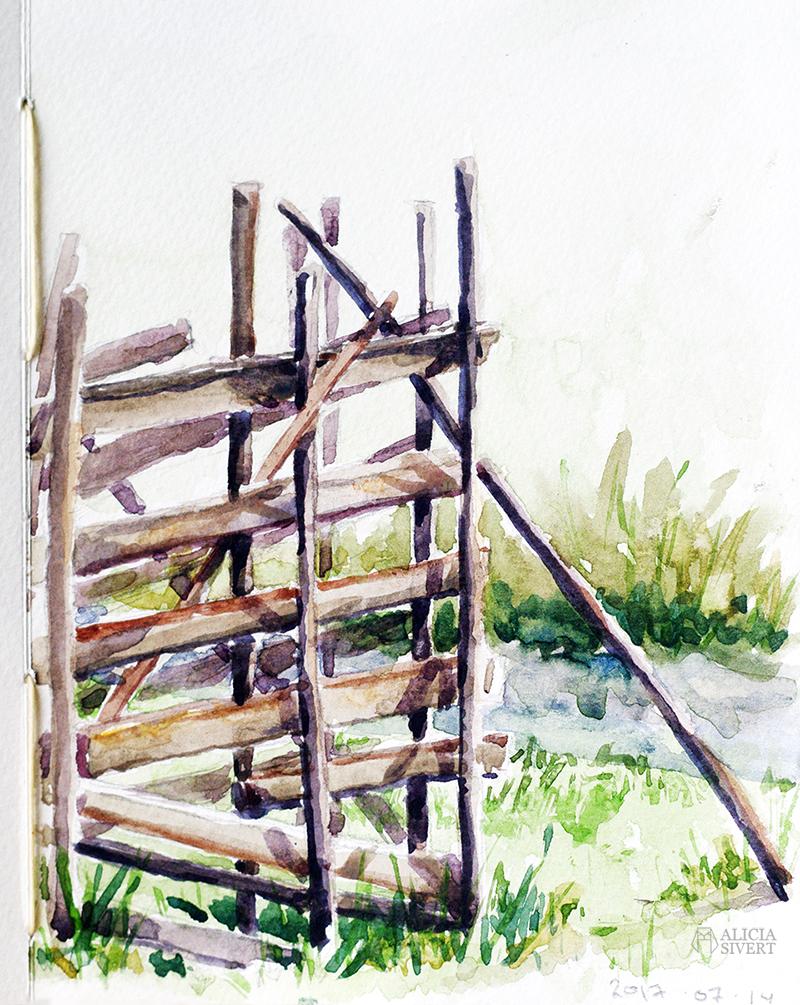 aliciasivert alicia sivert sivertsson akvarell aquarelle watercolour watercolor water color colour vattenfärg friluftsmåleri måla målning målningar konst paint painting art paintings gotland gärdsgård staket