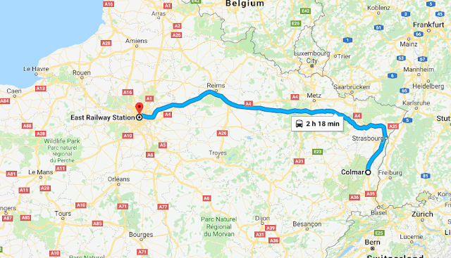 Mapa viagem de trem de Colmar a Paris