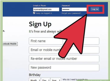 Facebook Login in Facebook Page at Home