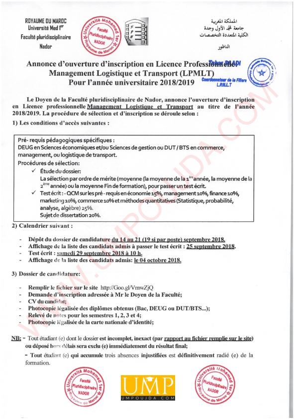 FPN : Licence Pro Management, Logistique et Transport 2018/2019