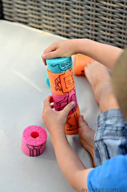 Quiet time activity for kids with DIY pool noodle blocks from And Next Comes L