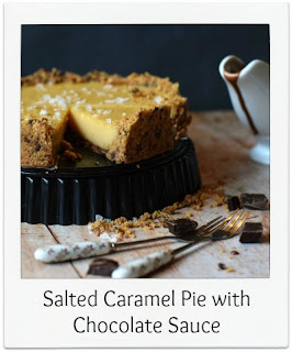 This Salted Caramel Pie is very easy to make & doesn't require a sugar thermometer.  The yin-yang flavour combination of the salted caramel is further enhanced with the dark chocolate pieces peppered through the biscuit base and the 2 ingredient chocolate sauce to serve.  It can be made ahead of time making it the perfect dessert for dinner parties!