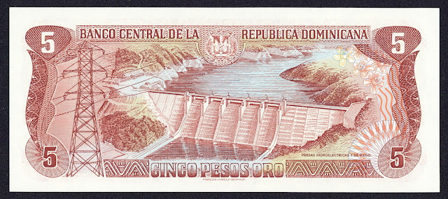 Dominican Republic money 5 Pesos Oro banknote 1996 Hydroelectric dams and irrigation