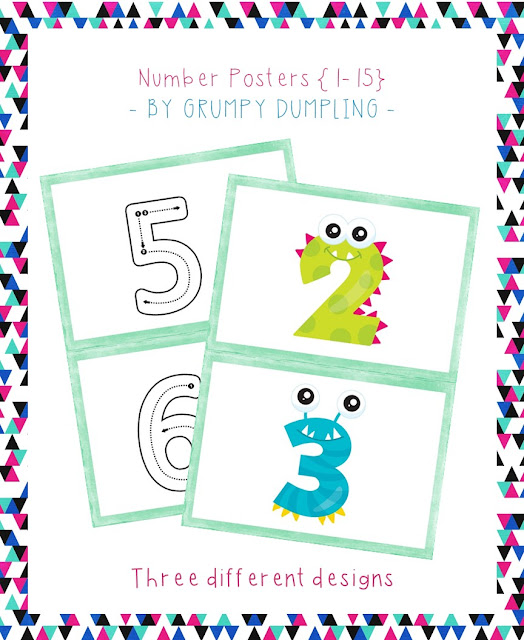 https://www.teacherspayteachers.com/Product/Number-Posters-1-15-Flash-Freebie-2942345
