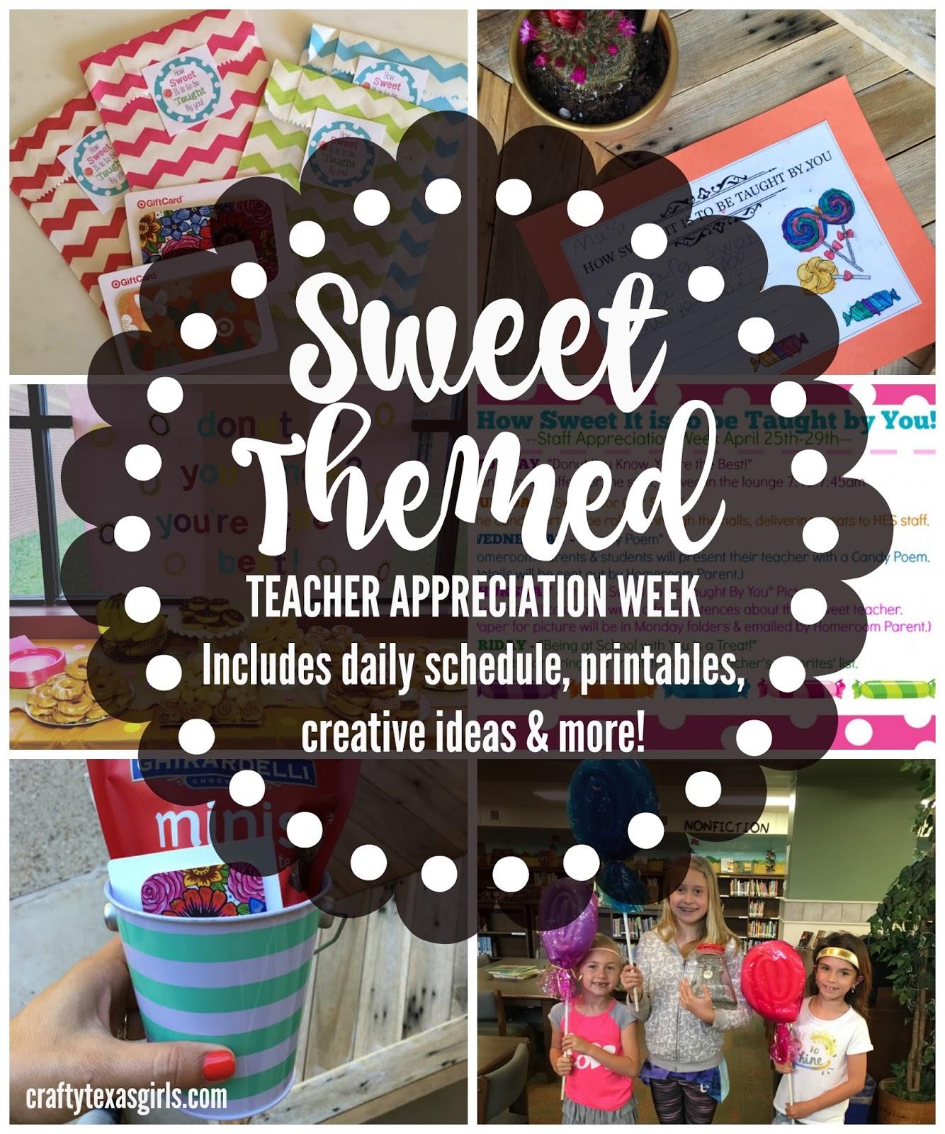 Teacher Appreciation Week In Texas: Crafty Texas Girls  Sweet Candy Themed Teacher Appreciation Week,