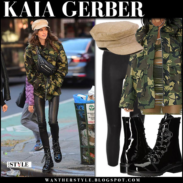 Kaia Gerber in black leather pants lagence and green army jacket i am gia street style october 30 2017