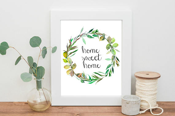 Home Sweet Home Instant download watercolor printable art
