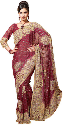 Ethnic Indian Embroidered Saree