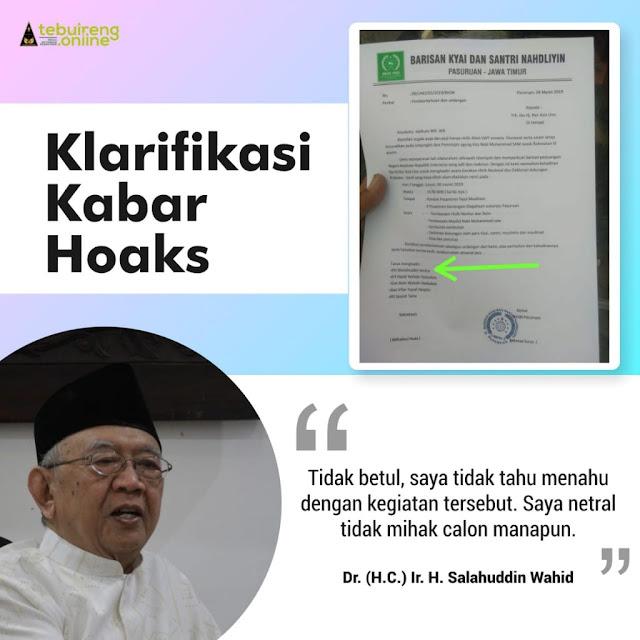 Dicatut, Gus Sholah Bantah Hadiri Deklarasi Dukungan Prabowo-Sandi