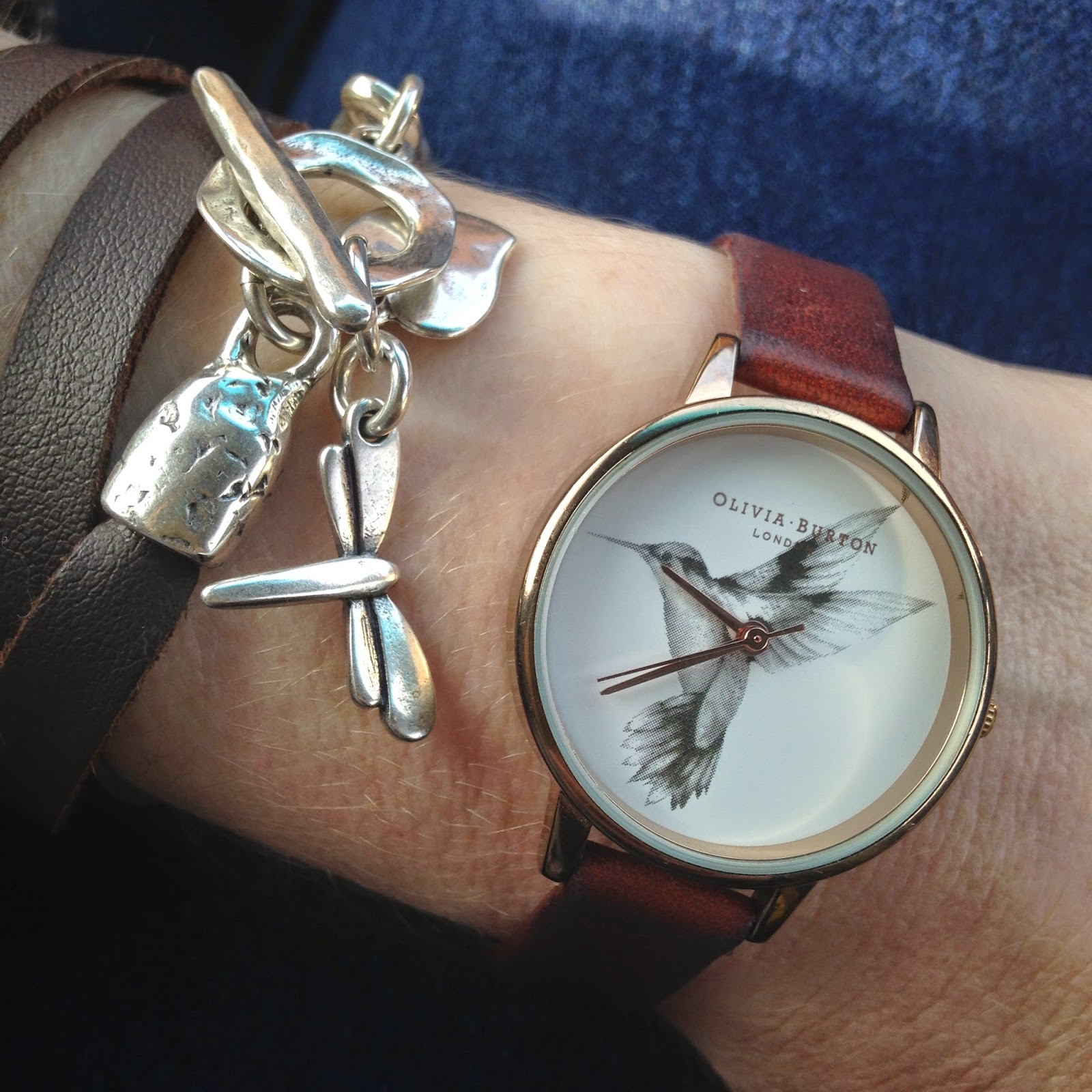 Olivia Burton rose gold hummingbird watch and dragonfly bracelet