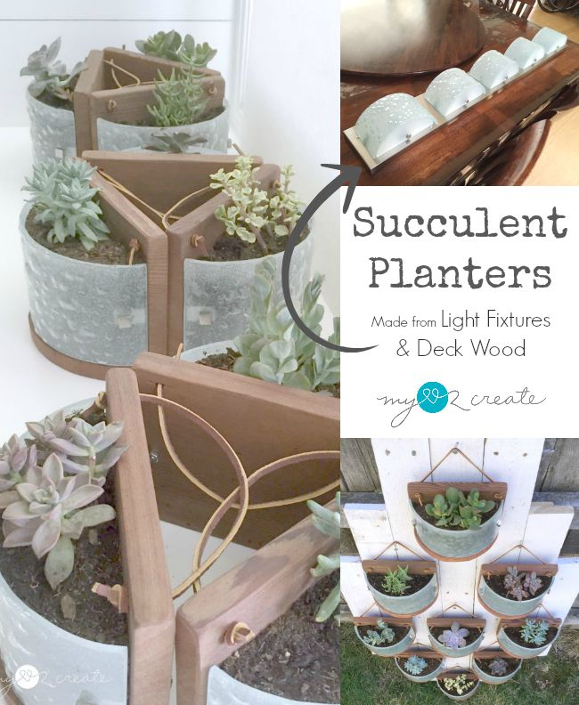 light fixtures repurposed into succulent planters