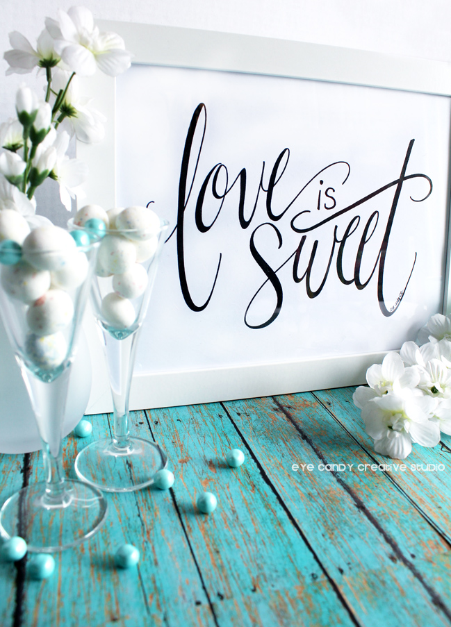 candy bar, wedding reception decor, love is sweet print, flowers, shower