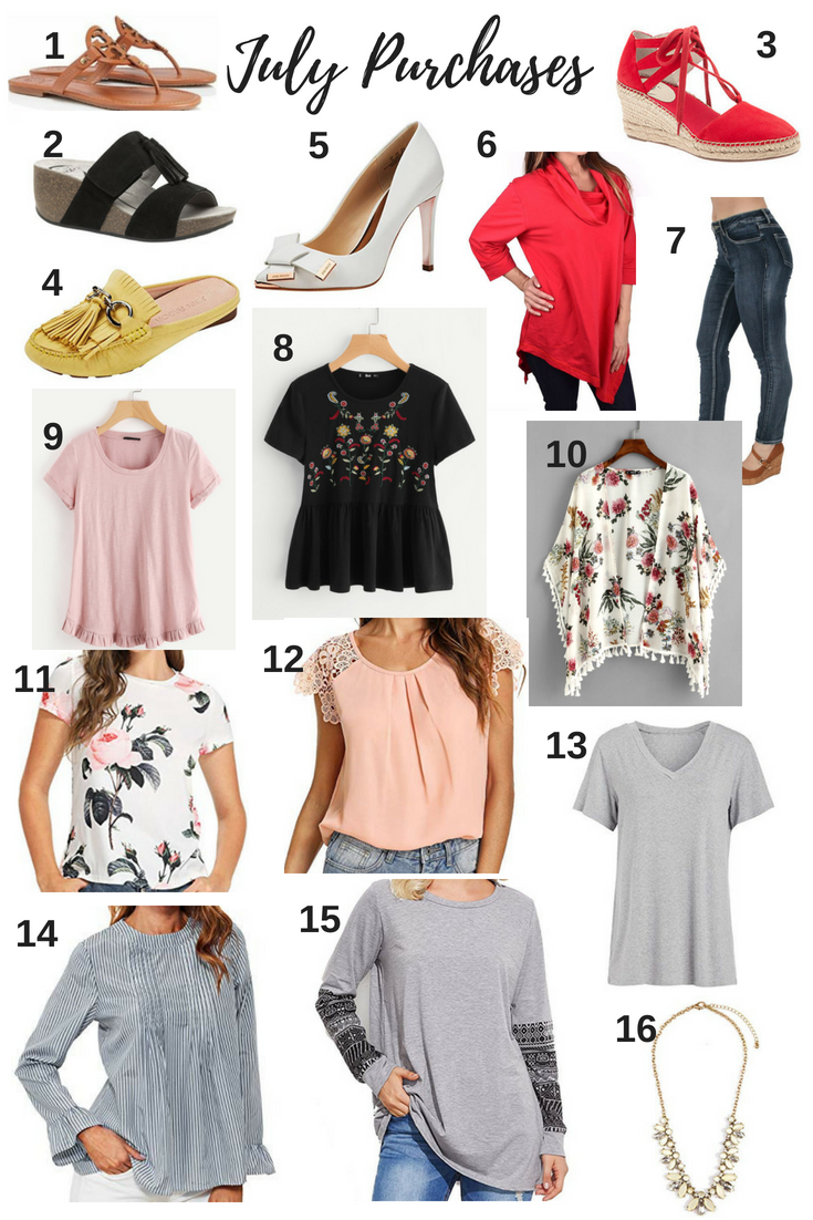july clothing purchases