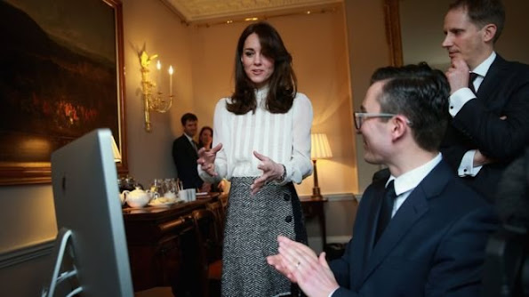 Catherine, Duchess of Cambridge launches a story on 'Early Intervention in Mental Health Care' watched by James Martin