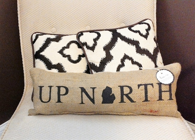 Up North Michigan burlap handmade pillow - by Lina and Vi Plymouth Michigan