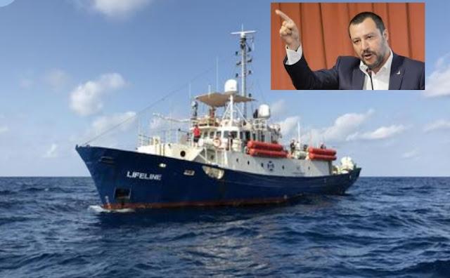 """جدل جديد سفينة هولندية تنقذ مهاجرين ..سالفيني:"""" فلتذهب إلى هولندا، فلن تلمس السواحل الإيطالية"""""""