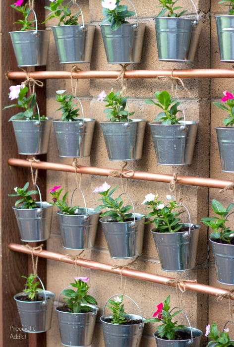 galvanized buckets copper pipe diy hanging garden wall