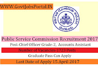 Public Service Commission Recruitment 2017- Chief Officer Grade-2, Accountant & Accounts Assistant
