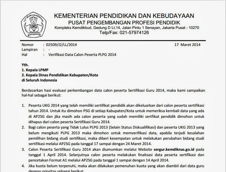 Verifikasi Data Calon Peserta PLPG 2014