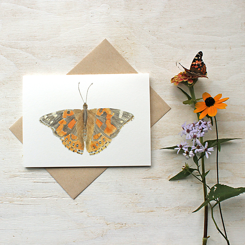 Painted lady butterfly note cards by Kathleen Maunder of Trowel and Paintbrush