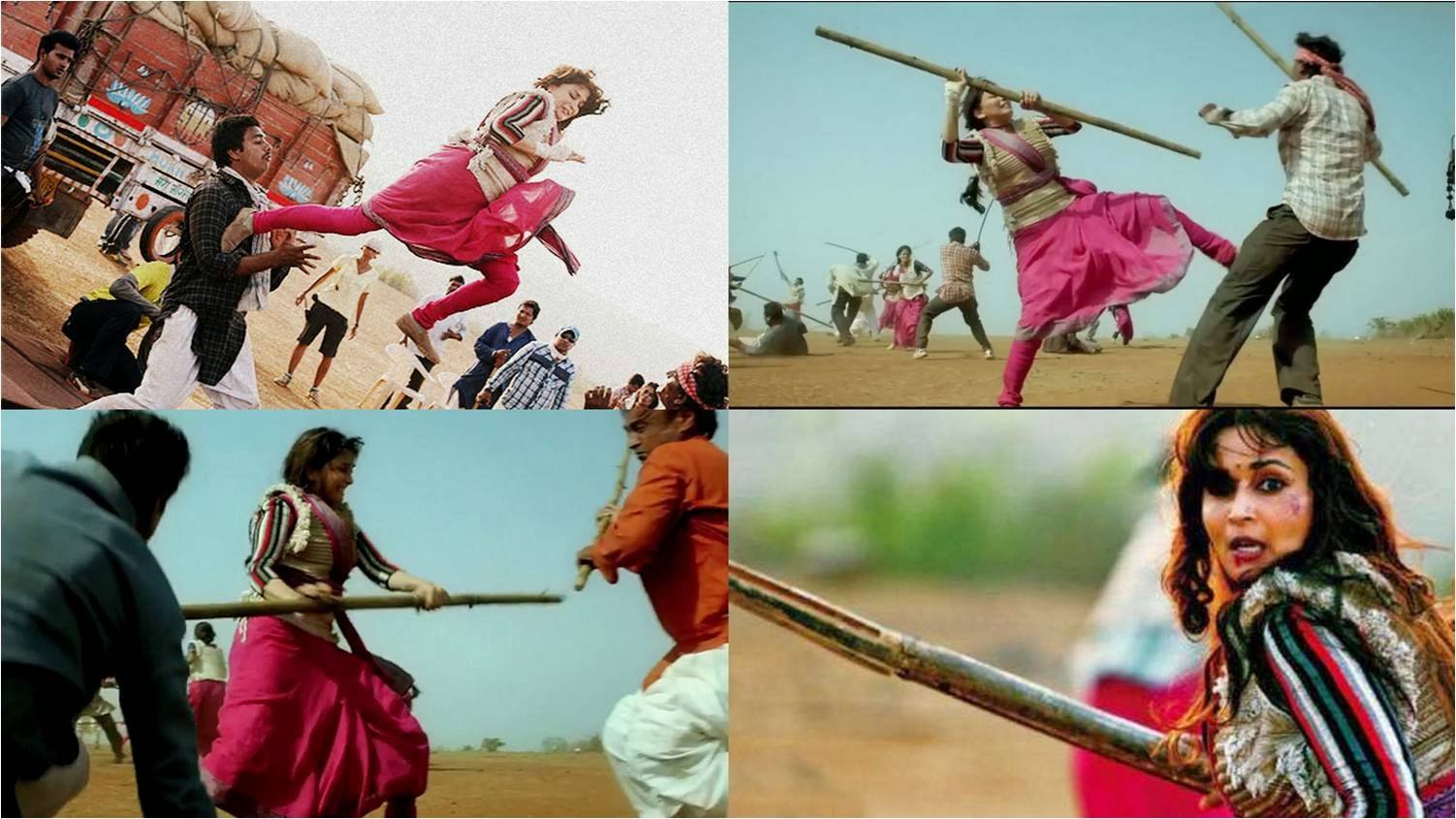 Madhuri Dixit fighting with goons in an action scene of Gulaab Gang movie still