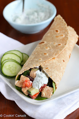 Low Fat Greek Chicken Salad Wrap Under 500 Calories #lowfatwrap