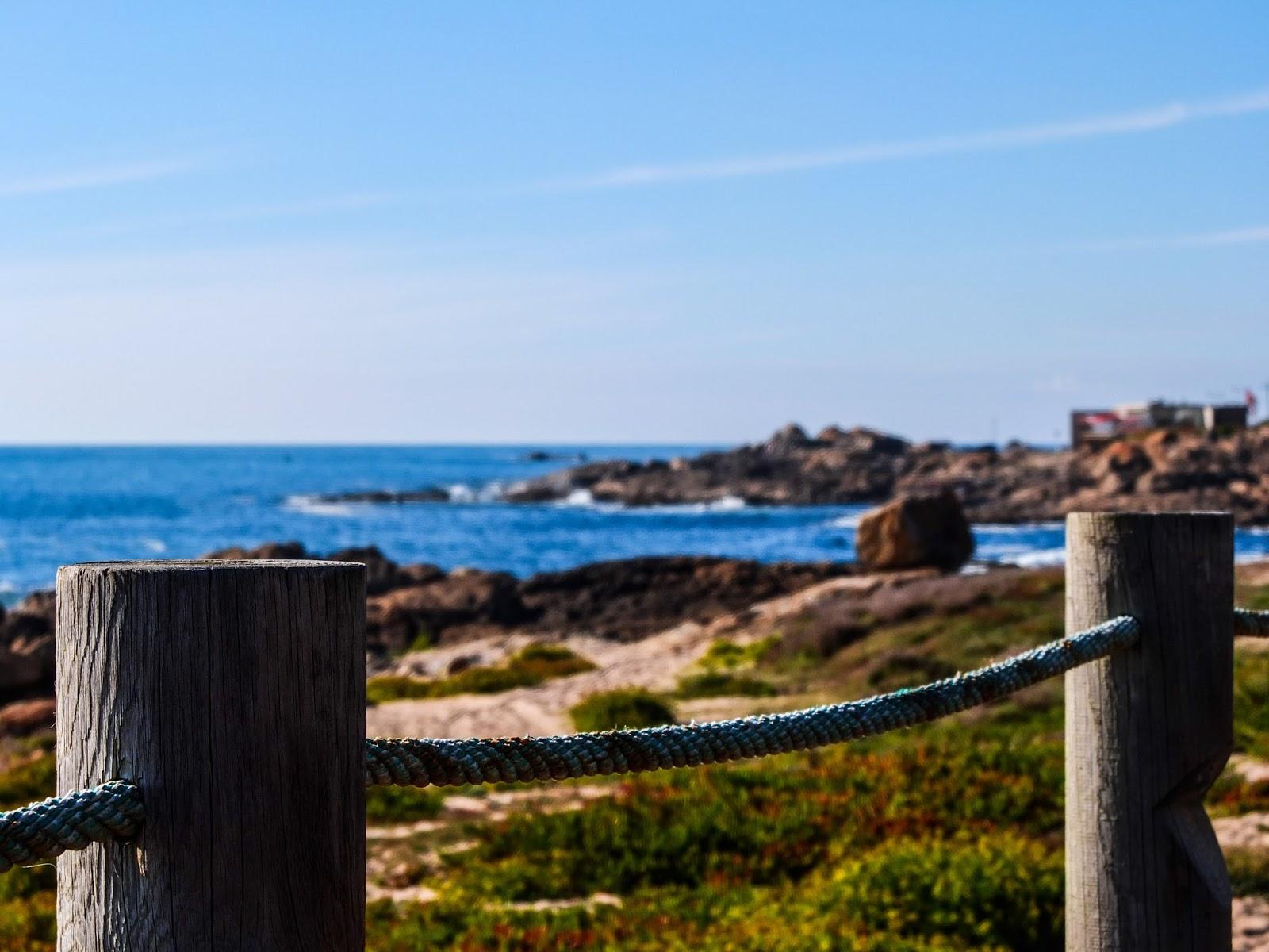 Beach Boardwalk up close in Porto, Portugal.