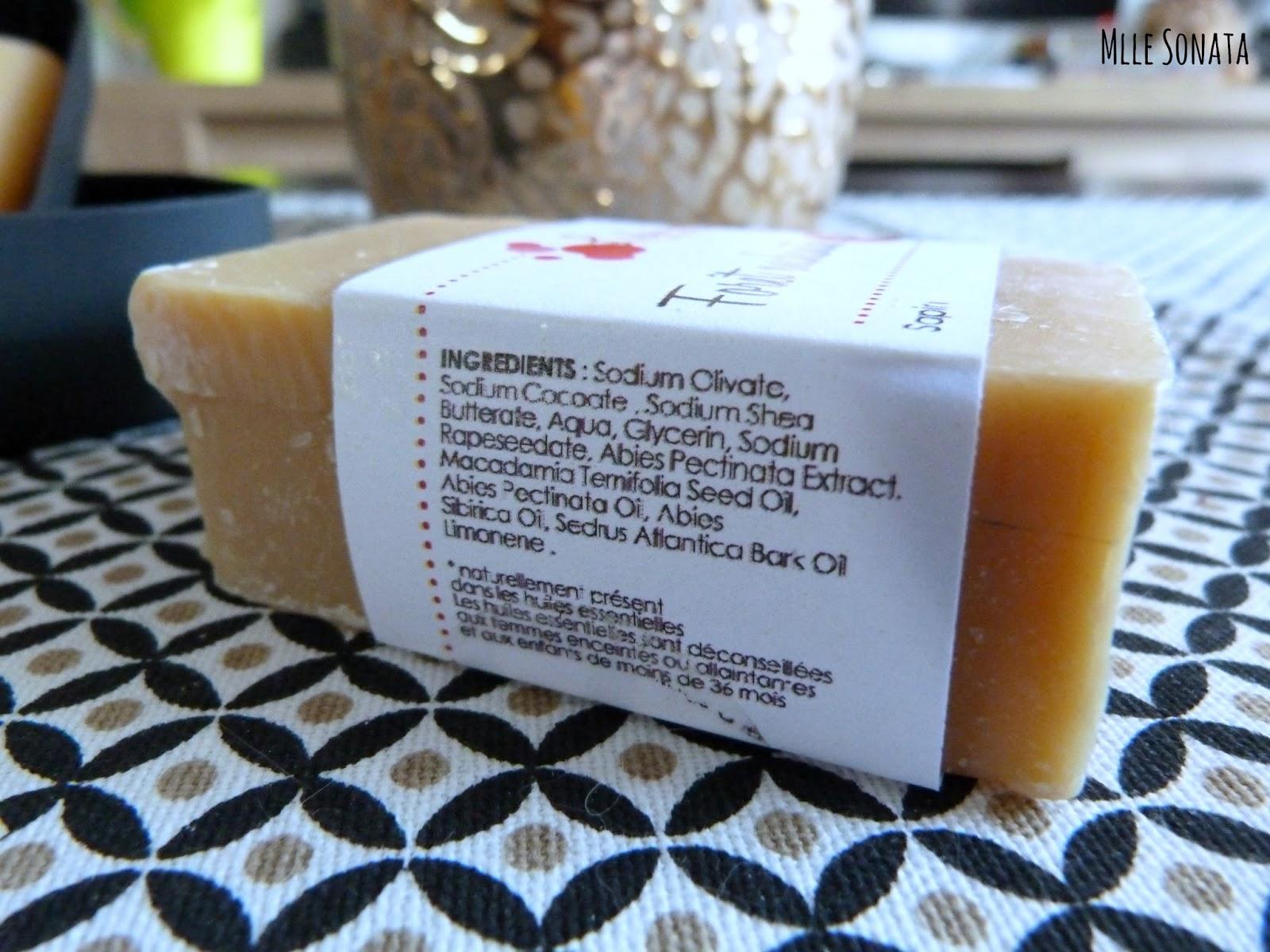 Composition du savon saponifié à froid de Louise Emoi