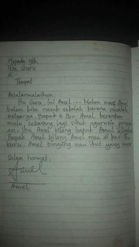 Balasan untuk Surat Ayah Amel dari Ibu Guru Amel
