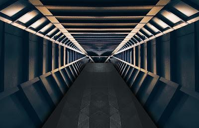 A corridor in a spaceship.