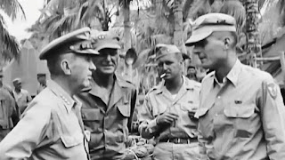 Gen. Walter Krueger while in a bivouac camp of the 11th Airborne in Lipa, Batangas.