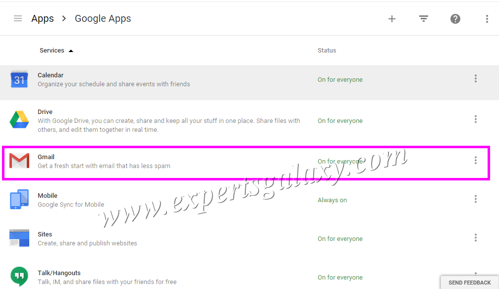 Google Apps Services Options