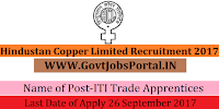 Hindustan Copper Limited Recruitment 2017– 75 ITI Trade Apprentices