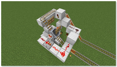 Minecraft トロッコ輸送 積み込み駅 作動状況②