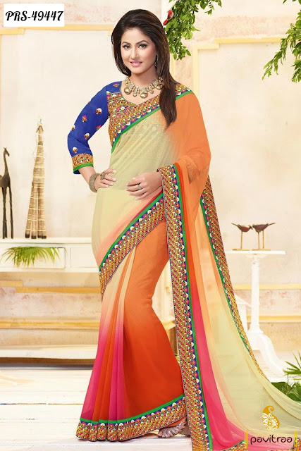 Akshra Hina Khan Special beige chiffon designer saree online shopping at pavitraa.in