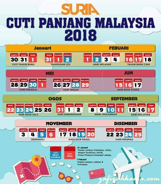 cuti-cuti malaysia, cuti sekolah malaysia, takwim 2018, rancang percutian keluarga, public holidays, school holidays, plan your holidays,