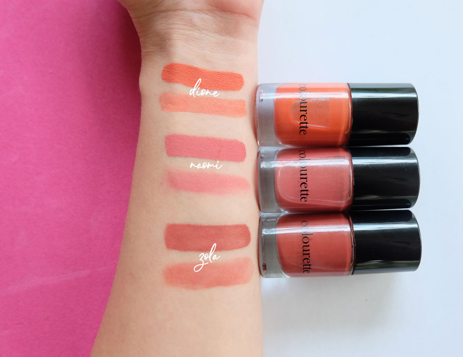 Swatches of Colourette Colourtint in Dione, Naomi and Zola