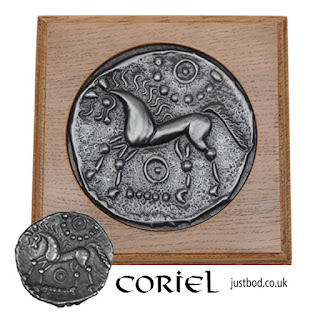 Celtic Coin Wall Plaque from Justbod: Silver unit struck by the Corieltauvi tribe