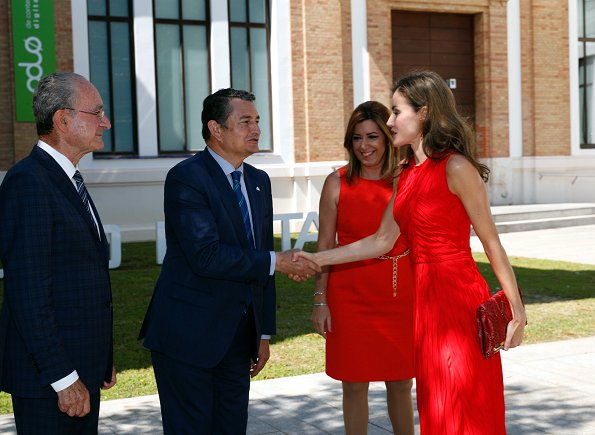 Queen Letizia wore NINA RICCI Plissé dress and carried a red Carolina Herrera animal print clutch bag