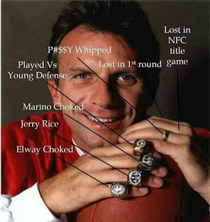 Joe montana. Rings: Elway Choked. Jerry Rice. Marino Choked. Played vs Young defense. P#$$y whipped. Lost in 1st round. Lost in NFC title game.