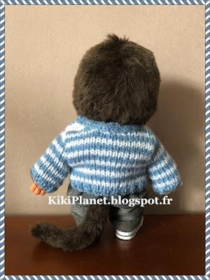 pull marinière fait main, kiki, monchhichi, handmade, fait main, bebichhichi, tricot, vêtement, knitting, poupée, vintage